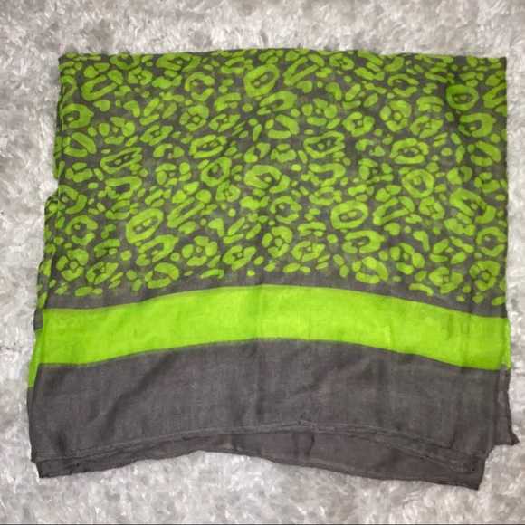 Neon Green & Grey Scarf